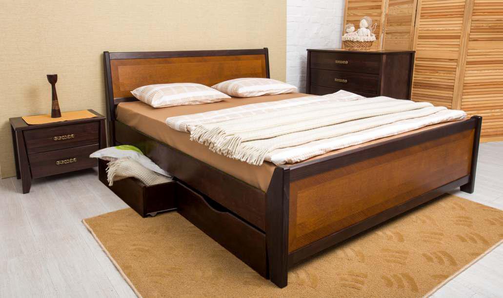 Кровать Олимп Сити с ящиками с интарсией (160*200)
