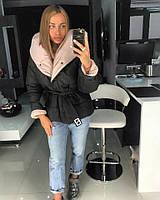 Короткая зимняя женская куртка с объемным капюшоном 18KU114, фото 1