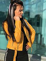 Женская кожаная куртка косуха со стежкой 58KU115, фото 1