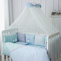 Комплект детского постельного белья в кроватку с бортиками и балдахином из 7 предметов 120*60 см Зайчики.