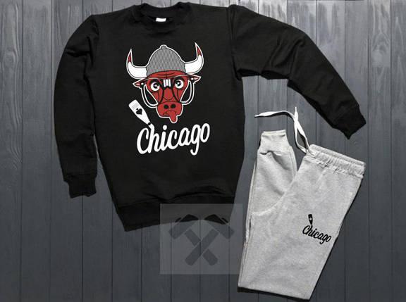 Спортивный костюм без молнии Chicago черно-серый топ реплика, фото 2