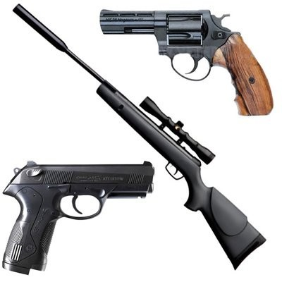 Пневматическое оружие, аксессуары и средства по уходу.