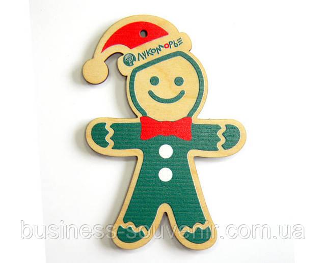 Новогодние деревянные веселые игрушки Человечек