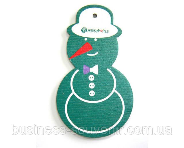 Новогодние деревянные веселые игрушки Снеговик
