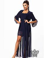 Эффектное платье с шифоном и гипюром-7 цветов 42-46р