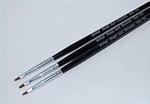 Набор кистей для геля (3 шт. черн ручка)