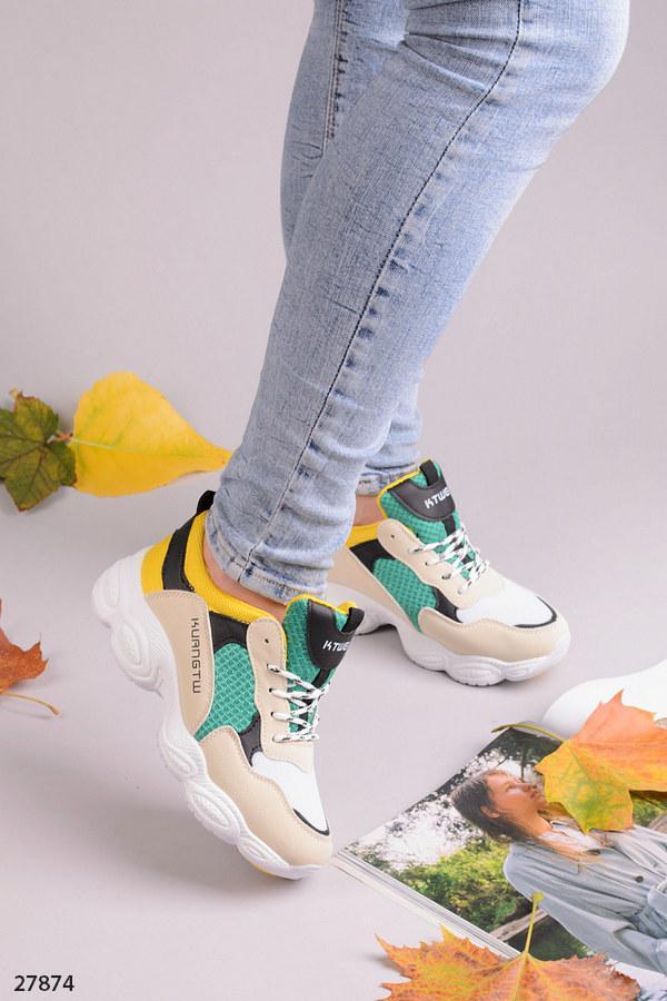 Шикарные кроссовки бежевые+белый+зеленый+желтый+черный эко-кожа + текстиль