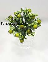 """""""Тычинки с бусинкой"""" оливковые, искусственных на розетке листьев (1 набор - 12 веточек ), фото 1"""