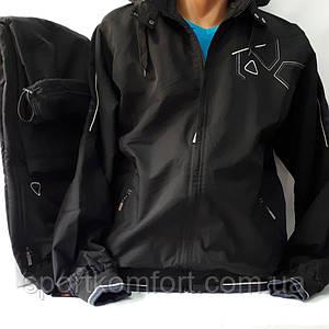 Тёплый мужской прогулочный спортивный костюм Соккер из плащевой ткани, Турция, чёрный.