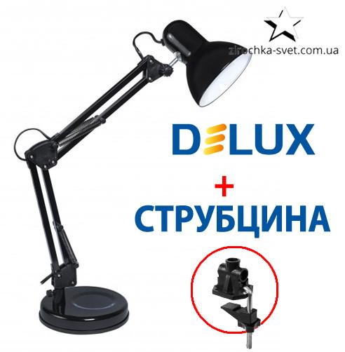 Настольная лампа на подставке + струбцина черная DELUX TF-07 Е27