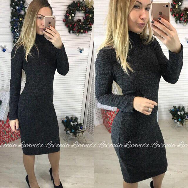 348bede7f15 Осеннее платье миди облегающее длинные рукава из ангоры гольф черное -