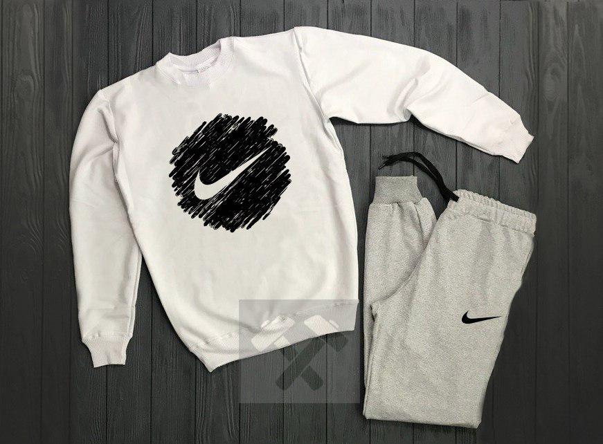 Спортивный костюм без молнии Nike бело-серый топ реплика
