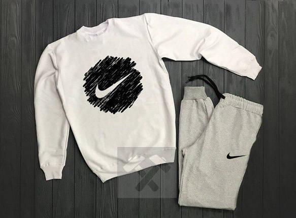 Спортивный костюм без молнии Nike бело-серый топ реплика, фото 2
