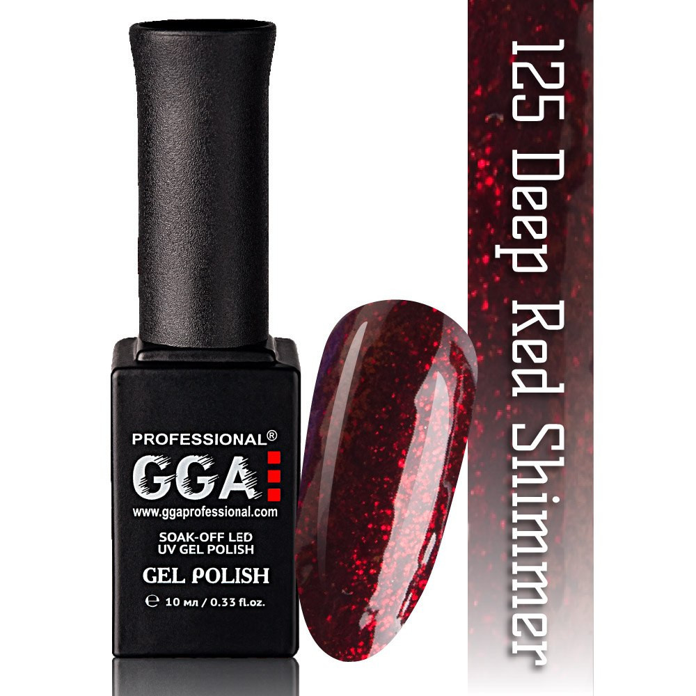 Гель-лак GGA Professional №125 Deep Red Shimmer  10 мл.