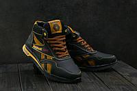 Мужские кожаные зимние кроссовки Reebok Черный\Желтый 050W-T12