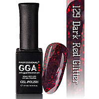 Гель-лак GGA Professional №129 Dark Red Glitter 10 мл.