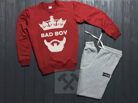 Спортивный костюм без молнии Bad Boy красно-серый топ реплика, фото 2