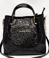 Женская сумка Майкл Корс с металлическими ручками с глиттером черного цвета