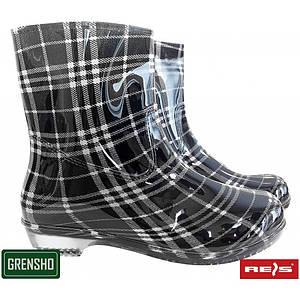 Женские сапоги BTDKCHECK BW выполненное по ПЦВ,черно-белого цвета. REIS