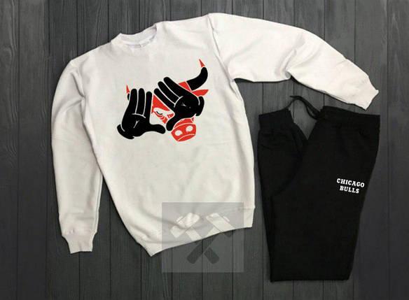 Спортивный костюм без молнии Chicago бело-черный топ реплика, фото 2