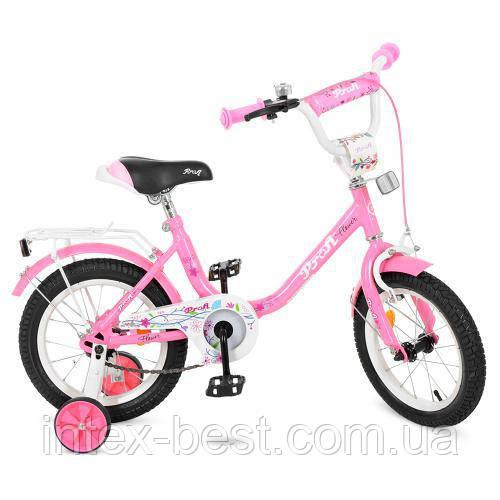 """Двухколесный велосипед Profi Flower 14"""" Розовый (Y1481)"""