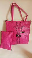 Сумка женская розовая, сумка женская из искусственной кожи, сумка женская малиновая