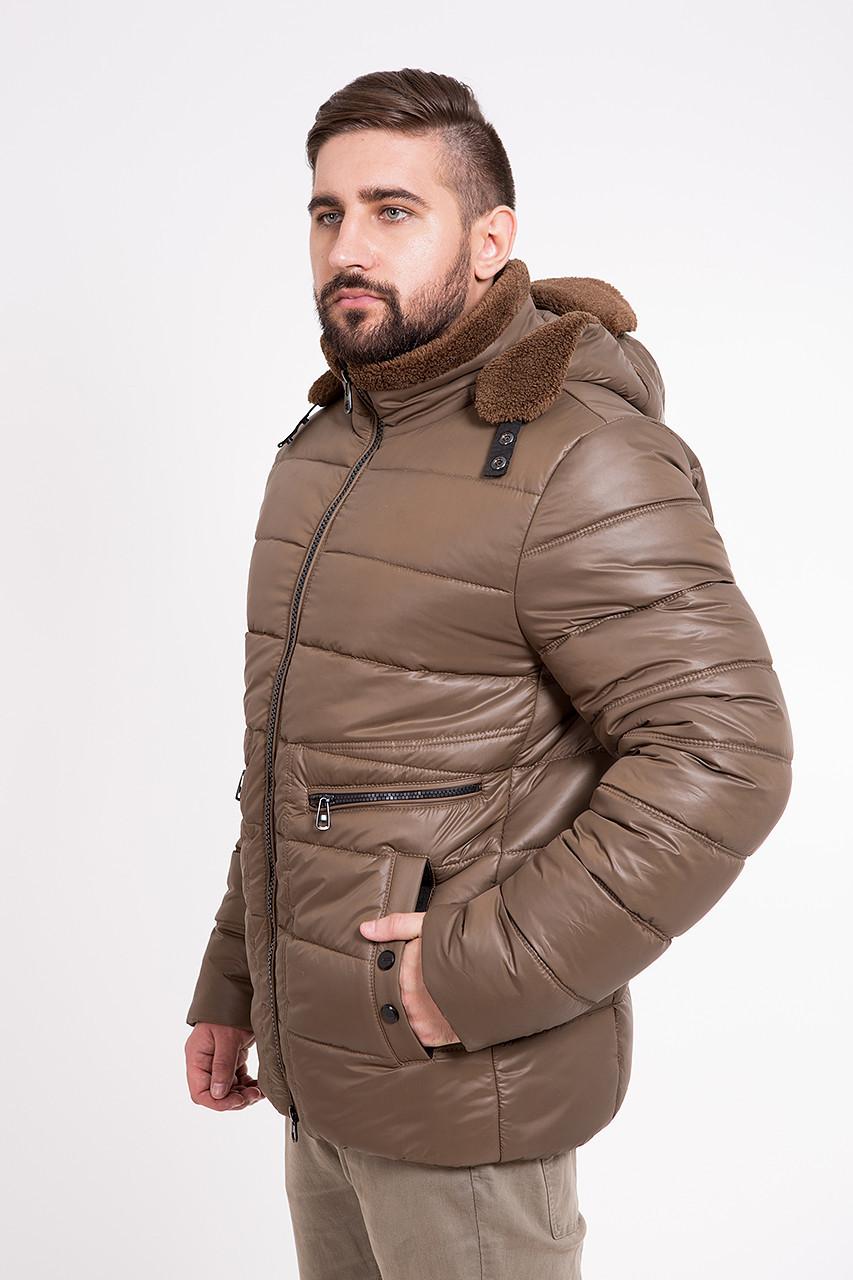 Зимняя мужская куртка с шапкой T-Z-2H шоколадная (#376)