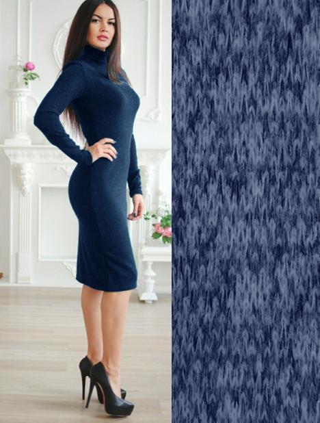 Осеннее приталенное платье миди до колен под горло ангоровое синий