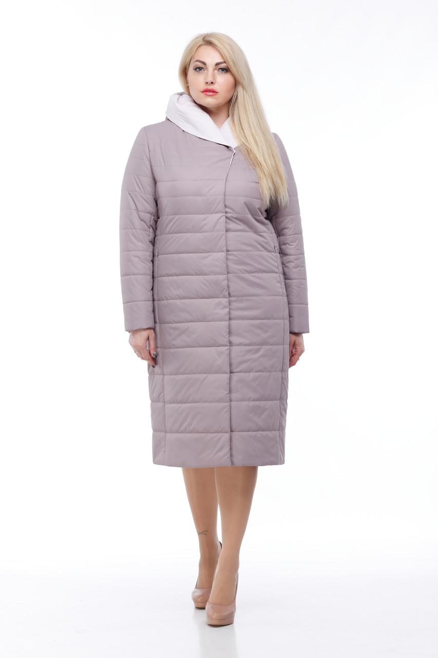 Пальто демисезонное высокого качества 48-60 больших размеров стеганое длинное
