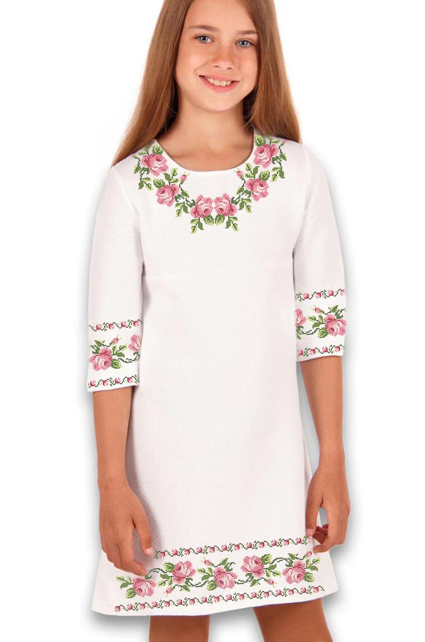 Заготовка дитячого плаття чи сукні для вишивки та вишивання бісером Бисерок «Ніжність 100» (ДП-100)
