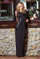 Платье черное в пол, вставки кожа.гипюр, фото 1