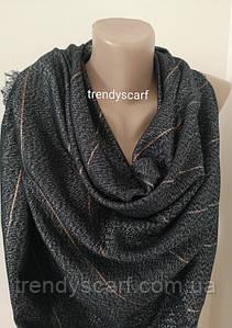 Женский блестящий платок. Черный серебристый золотой. Нить  блестящая Размер 140\140 см