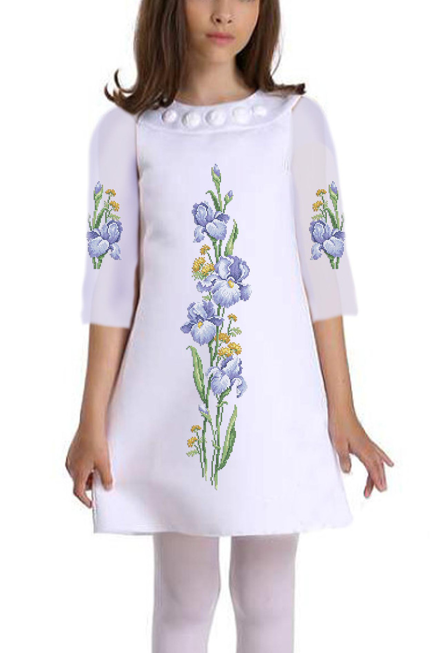 Заготовка дитячого плаття чи сукні для вишивки та вишивання бісером Бисерок  «Ніжний ірис» (ДП-133 )
