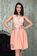 Нарядное платье с поясом персик 0128/03, фото 1
