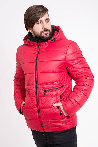 Теплая мужская куртка T-Z-2K с капюшоном красная (#379), фото 2