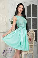 Нарядное платье с поясом мята 0128/01, фото 1