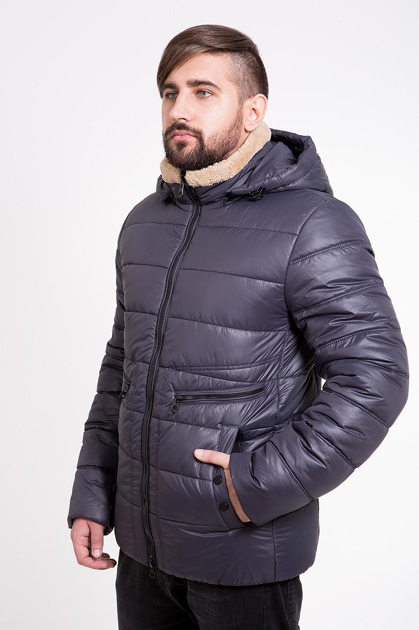 Теплая мужская куртка T-Z-2K с капюшоном синяя (#374) 46 размер