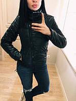 """Модная демисезонная женская короткая куртка без капюшона с молнией наискось """"Ариэла"""" черная"""