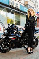 Куртка косуха классическая, черная, на 2 змейки, фото 1