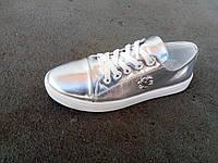 Кеды кроссовки кожаные женские серебристые 36-40 р-р, фото 1