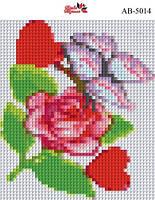 Алмазная вышивка «Ветка розы». АВ-5014 (А5). Полная выкладка