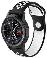 Ремінець для Samsung Gear S3 Nike brand з перфорацією Чорний/Білий, фото 3