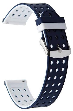 Ремінець для Samsung Gear S3 Double design з перфорацією Cиній/Білий, фото 2
