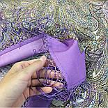 Чародейка Зима 1749-3, павлопосадский платок шерстяной (двуниточная шерсть) с шелковой вязаной бахромой, фото 8