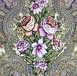 Чародейка Зима 1749-3, павлопосадский платок шерстяной (двуниточная шерсть) с шелковой вязаной бахромой, фото 4