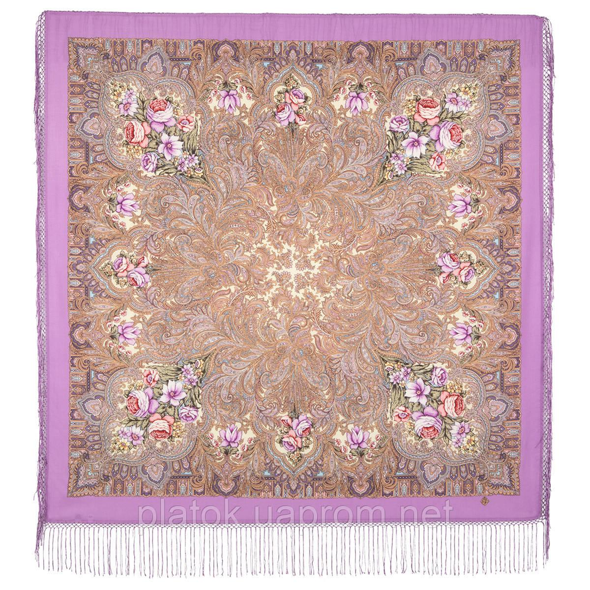 Чародейка Зима 1749-3, павлопосадский платок шерстяной (двуниточная шерсть) с шелковой вязаной бахромой