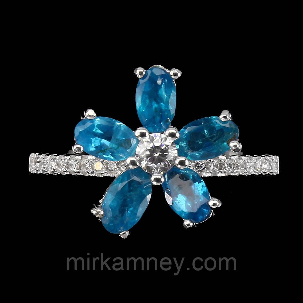 Кільце квітка з натуральним блакитним апатитом розмір 17