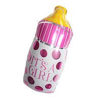 Куля фольгований Пляшечка з соскою рожева, 75 см