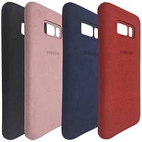 Чехол-накладка кожа Alcantara cover для Samsung S8 (pink)