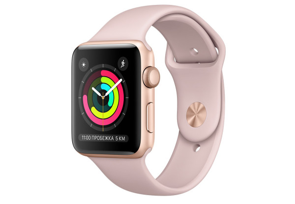 Смарт-часы Apple Watch Series 3 38mm Gold Aluminum Case with Pink Sport Band (MQKW2)